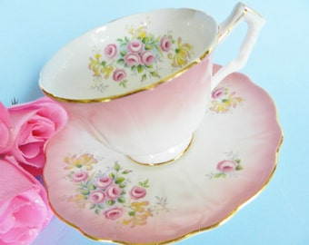 Aynsley Teacup and Saucer, Pink Aynsley Tea Cup, Rose Bud Teacup, Vintage Aynsley Tea Cup, Pink Rose Bud Teacup, no 55