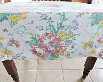 NOS Floral Tablecloth,  Cottage Iris RoseTablecloth, Pink Tablecloth, Never Used tablecloth,