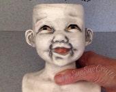 Smiling face planter, garden pot, baby face doll head flower container #P062415