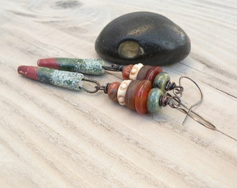 Earthy Tribal Earrings, Dark Green and Burnt Orange, Long Boho Dangles with Sterling Silver Ear Wires, Clay Spike Earrings