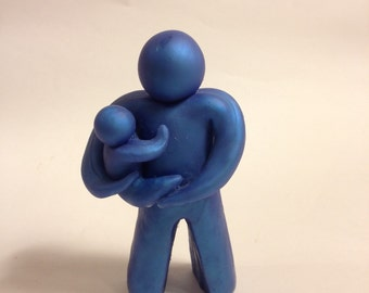 Attached Father, Papatoto, Daddy and Baby Art Sculpture (dad, attachment parent, doula, childbirth, figurine)