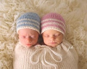 Newborn Knit Handmade Twin Striped Beanies Made to Order