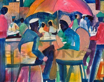 Downtown Dining Watercolor Print, African American Art, Contemporary Art, Colorful Art, Watercolor Art, Home Decor Art, Wall Art, Black Art