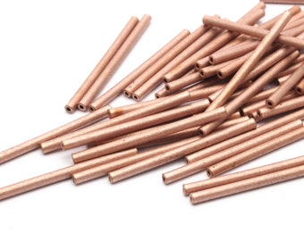 Copper Tube Beads - 50 Raw Copper Tube Beads (2x30mm)   D365