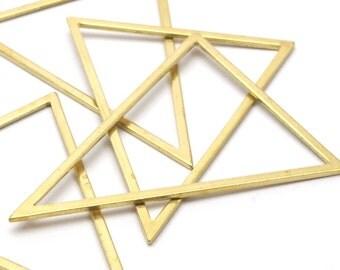 Brass Triangle Ring, 6 Raw Brass Triangles (53x53x40mm) Bs-1307