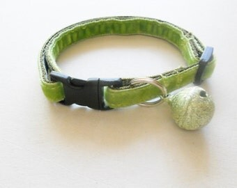 Plush Velvet Cat or Kitten Breakaway Collar -  Spring Green