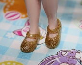 Blythe Gold Glittery Cute Mary Jane Doll shoes