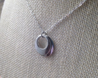 Silver crescent necklace (nickel and lead free chain)