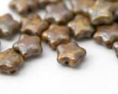 Vintage Czech Glass Picasso Tan Brown Star Beads 8mm (20)