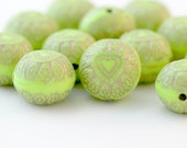 Green Gold Etched Puffed Heart Coin Acrylic Beads 15mm (12)