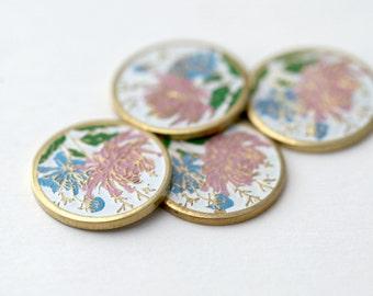 Vintage Cabochons Gold Enamel Round Flower Pink Blue Cabs Cloisonne 12mm (4)