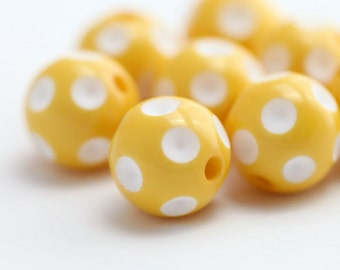 Yellow White Dimpled Polka Dot Acrylic Beads 16mm (8)