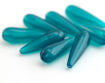 Vintage Teal Green Lucite Drop Beads 29mm (8)