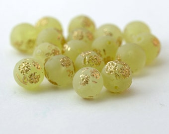 Vintage Lime Green Gold Lucite Round Beads 10mm (16)