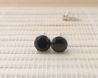 Black Spinel Studs Sterling Silver Earrings 6mm
