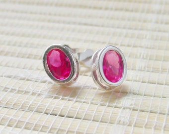 Pink Sapphire Bezel Stud Sterling Silver Earrings 7x5mm