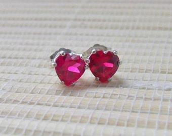 Ruby Stud Earrings Sterling Silver July Birthstone 6mm On Sale