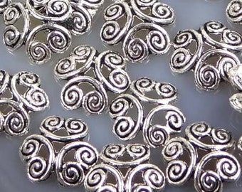 Silver Pewter Filigree Bead Caps 12mm - Lead-Free - (30 pc) (p156)