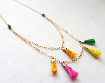 Multicolor Tassel Necklace, Dainty gold filled layered necklace,  Boho summer necklace