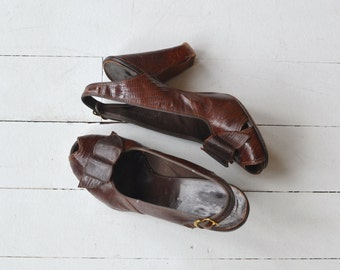 Parimode shoes | 1940s snakeskin shoes • vintage 1940s heels 6.5
