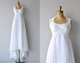 Delphine wedding gown | 1970s wedding dress | empire waist 70s wedding dress