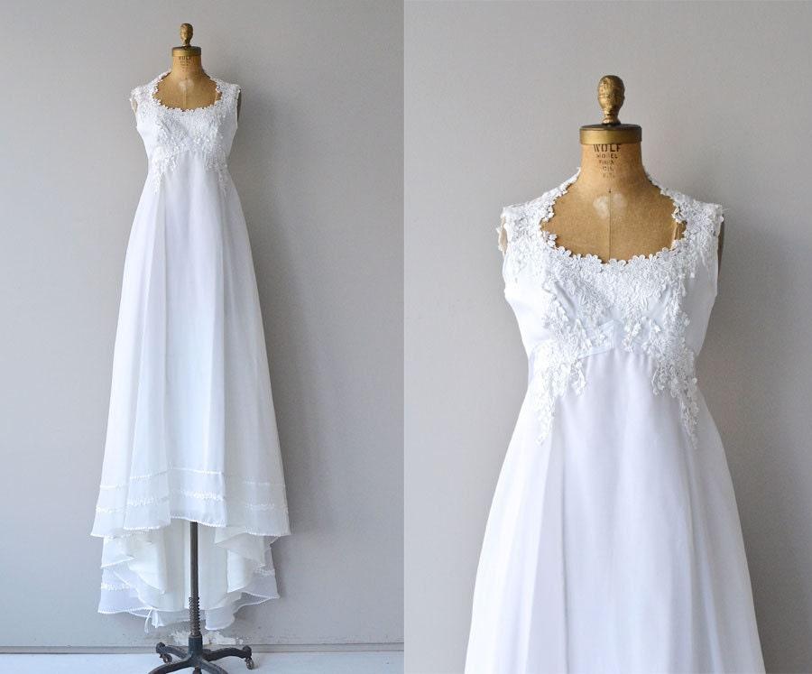 Delphine wedding gown 1970s wedding dress empire waist 70s for Wedding dress large bust small waist