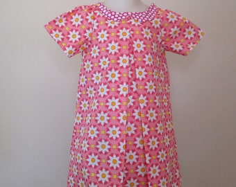 Pink Floral Little Girls Dress , Size 3 , Bow In The Back , Girls Short Sleeve Dress , Summer Dress , Piper Dress
