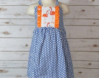 Blue Polka Dot Sundress , Size 3 Sundress , Size 3 Blue And White Summer Dress , Beach Dress With Flamingo