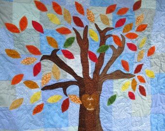 Wedding Quilt  In Fall Colors , Guest  Book Alternative , Fall Wedding Decor , Quilted Wall Hanging , Personalized Love Knot Tree Quilt
