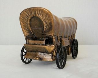 Vintage metal wagon train bank moveable wheels Pioneer Federal Savings die cast advertising bank 1974 Banthrico Chicago