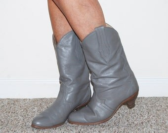 Vintage Boots Pewter Gray with Heel Capezio Leather
