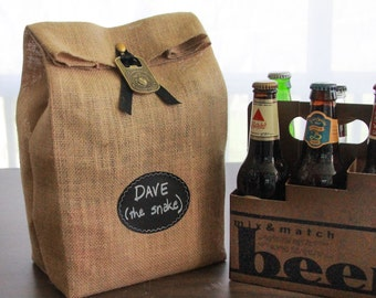 Sets of 4 - 7 Burlap 6-Pack Sacks with Re-Useable Chalkboard Labels for Gifting and Decorating