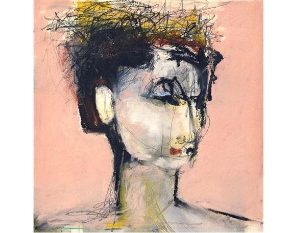 Portrait Art Print, Square,  Portrait Painting, Face Art, Portrait Illustration, Ballerina