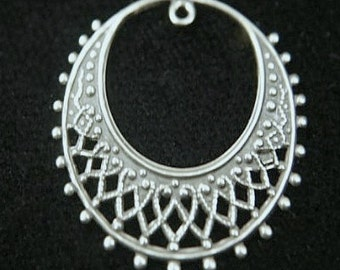 Filigree Brass Hoop ant silver plated over BRASS 2pc, 2 ring, charm pendant