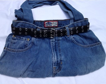 Old Navy Upcycled Jeans Purse - Recycled Denim Handbag with lining & belt