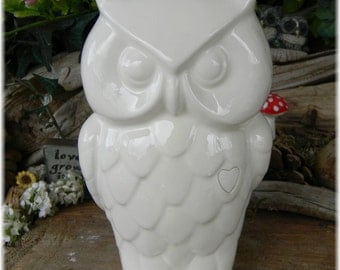 Large White Ceramic Owl  bank Modern Design Vintage inspired  - Ready to ship items in my shop