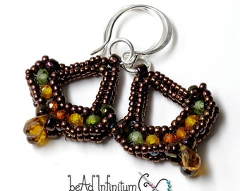 Victorian Parlour Earrings in Autumn CZ and Deep Bronze Beaded Sterling Silver Wire