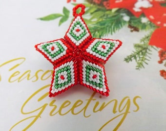 Christmas 3D Peyote Star  / Seed Bead Ornament  / Beaded Star /  Star in Red, White and Green / Chirstmas Gift / Beaded Ornament