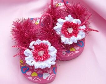 Pink Toddler Girl Sandals Toddler Girl Pink Flip Flops in Size 7/8 Crochet Decorated Toddler Girl's Wedding SandalsToddler Girl Sandals
