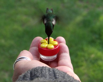 3 HUM-Buttons™, Mini Hand Held Hummingbird Feeders Made & Handcrafted in the USA