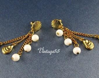 Earrings Sea Shell Charm Beads Gold tone