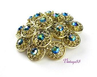 Vintage Brooch Blue Rhinestone Aurora Borealis Gold tone