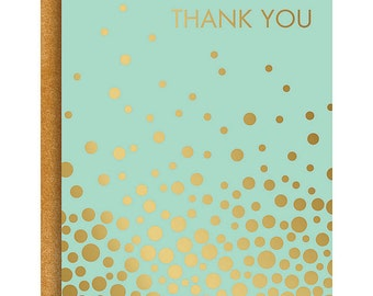Gold Foil Confetti Thank You Card, Set of 10
