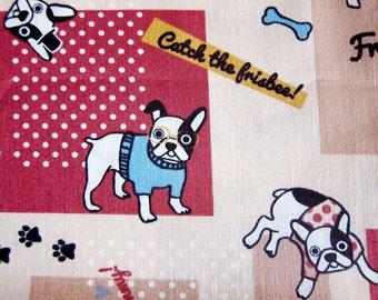 Animal Print Fabric By The Yard - French Bulldogs Fabric - Cotton Fabric - Half Yard