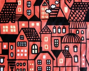 Cotton Fabric - Town Silhouette on Bright Salmon Pink  - Fat Quarter
