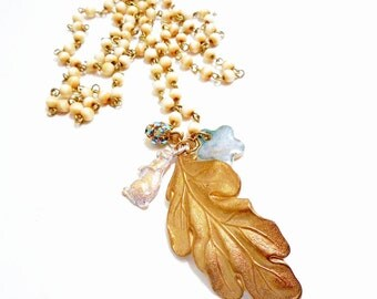 Woodland Leaf Necklace, Rabbit Charm, Ceramic, Brass Leaf, Rhinestone, Summer Fashion, Beaded Necklace