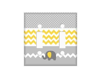 Elephant Switchplate Cover - Elephant Nursery Room - Chevron Electrical Cover - Yellow Gray Nursery - Custom Switchplate