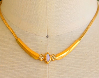 Vintage Necklace AVON Signed Gold Tone Opal Collar Choker