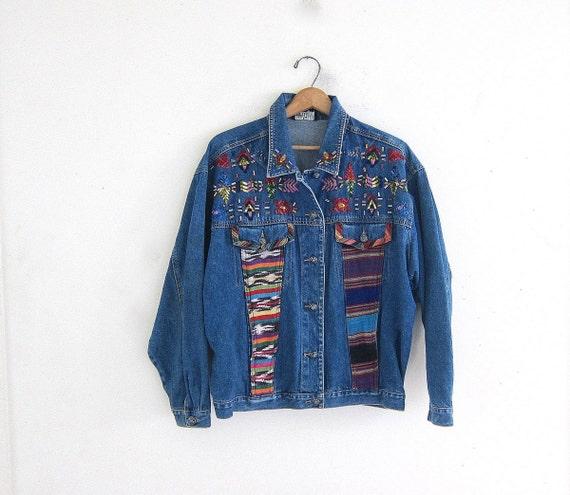 Off sale vintage jean jacket embroidered denim