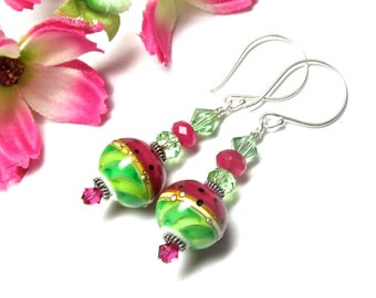 Watermelon Earrings Lampwork Earrings Glass Earrings Artisan Earrings Handmade Earrings Pink Earrings Green Earrings Colorful Earrings
